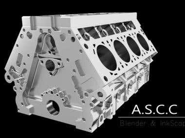Motor V8 Modelado y Renderizado