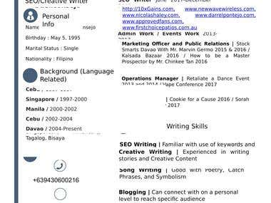 Here's a copy of my resume
