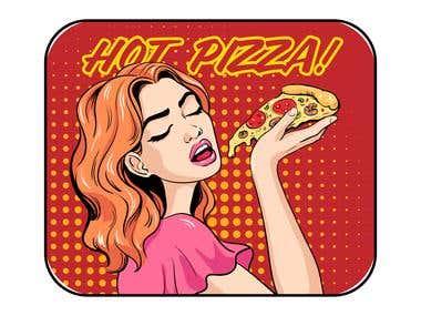 Hot pizza pop art