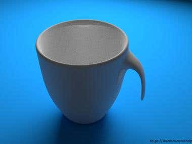 Open handle ceramic cup