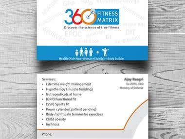 Business card design for 360 fitness
