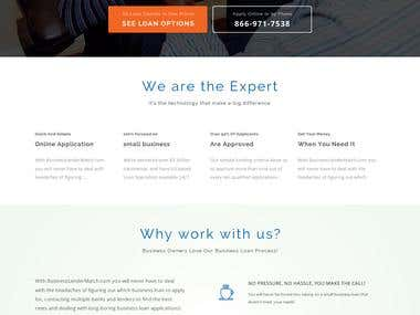 Business lender match website design