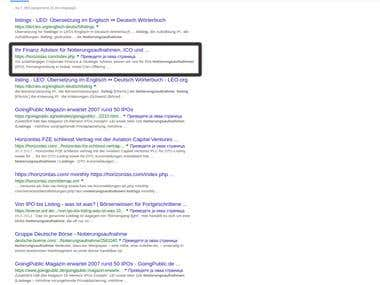 Google Ranking on Switzerland (CH) - First page, 2 Result