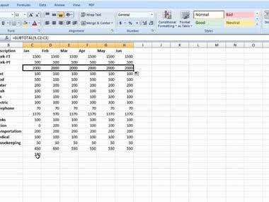 Excel spreadsheet calculations