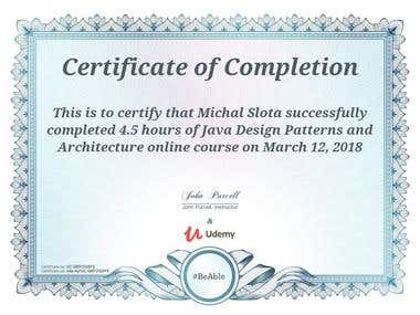 Java Design Patterns & Architecture - course certificate