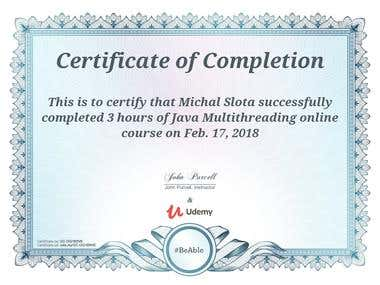 Java multi-threading - course certificate