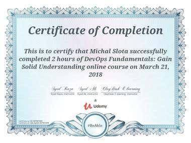 DevOps fudnamentals course certificate