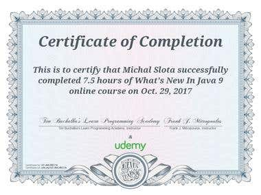 Java 9 - course certificate