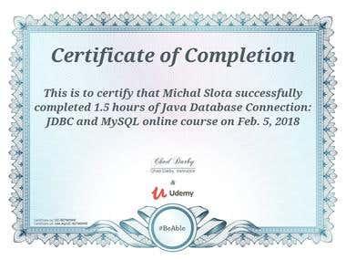 Java JDBC - course certificate