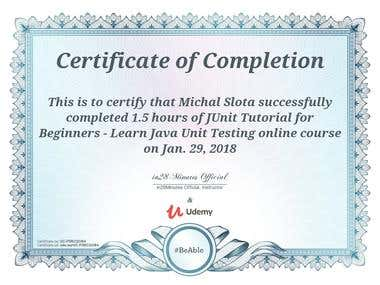 JUnit - course certificate
