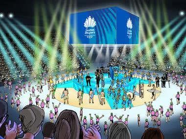 Artist impression of stadium event
