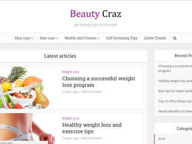 Beauty and Health tips website
