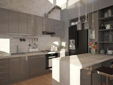 Modern kitchen with island like bar