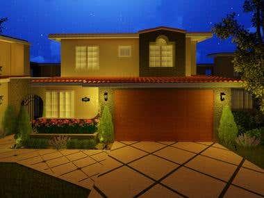 Front of house landscape rendering