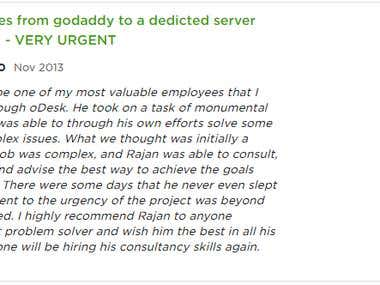 Migrate websites from godaddy to a dedicted server using isp