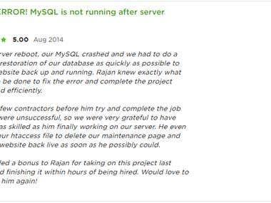 MySQL ERROR! MySQL is not running after server reboot