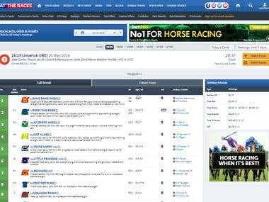 Horse racing reportingsystem