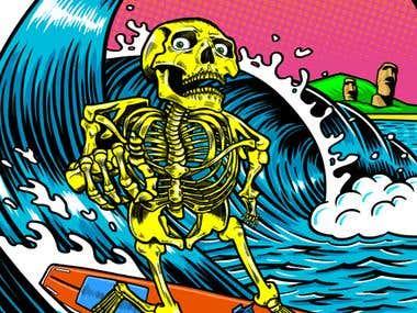 Surf-rock skeleton