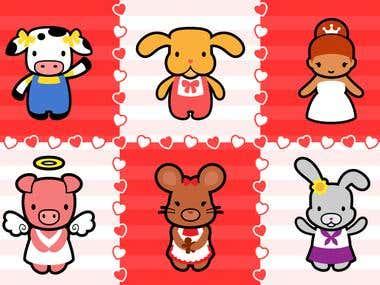 Hello Kitty-style Illustrations