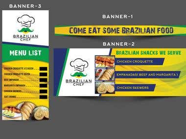 Create a set of 3 banners for our food booth.!