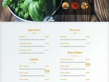 General purpose one page website for small cafe.