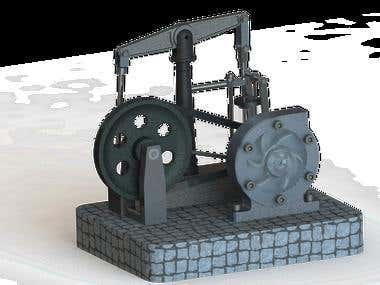 Rendering View of Steam Engine