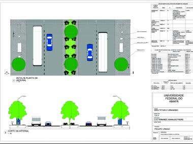 urbano :rotatória e detalhe de rua principal