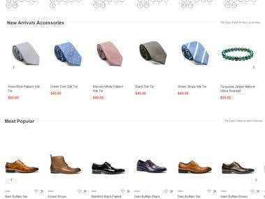 Men's footwear and accessories ecommerce