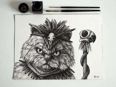 Witch Doctor Cat Illustration