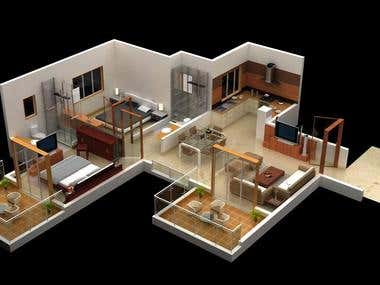3D Floor Plan from CAD layout