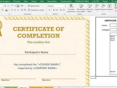 Certificates of participation generated by VBA and Excel