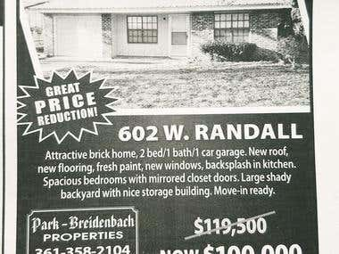 B&W Newspaper Ad - Real Estate