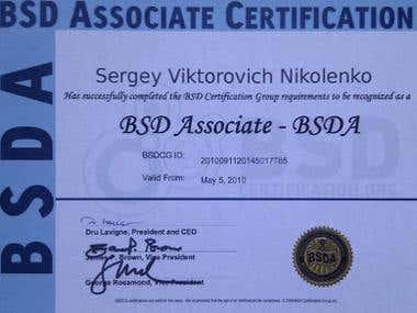 BSDA certificate