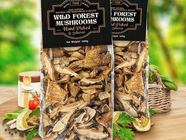 Label design for forest mushrooms