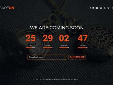 Coming soon page Design (UI/UX)