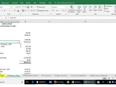 Financial Statements per US GAAP in Spreadsheet