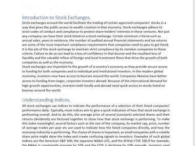 Research on Indian Stock Exchanges.