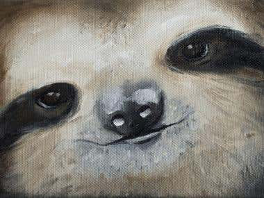 Sloth Face Oil Painting