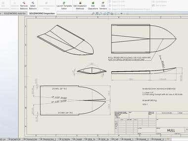 drawing flat sheet metal hull of the jet boat