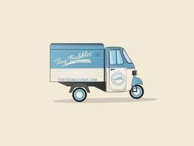 Tiny Bubbles Logo and Van Illustration