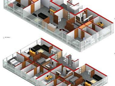 Designing an 3-D floor plan visualization of an apartment