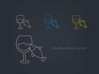 One White Wine with one fish - Icon