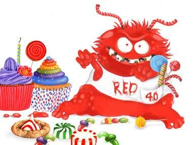 Red 40 monster for Picture book