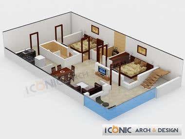 Architectural 3D Rendering (Floor Plans)