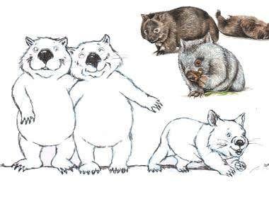 Wombat family's
