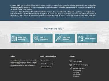 UK's Zero Balancing Association website PSD to Wordpress