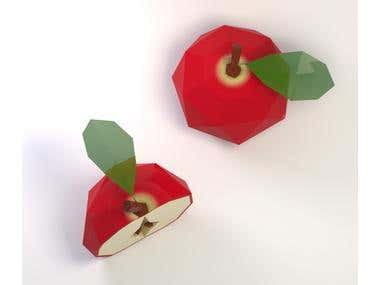 Apple, 3d, lowpoly model