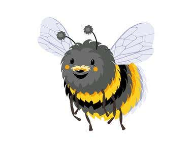 Bumblebee in cartoon style