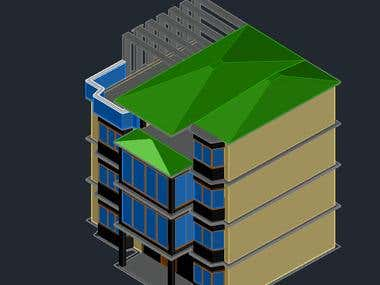 3D Residential Building Elevation in AutoCAD