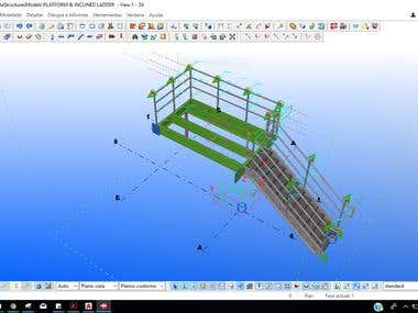 Platform and stair created in Tekla structure (3d model)